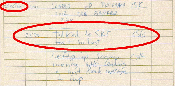 UCLA IMP logbook entry showing fi rst connection between two host computers over the ARPANET, October 1969