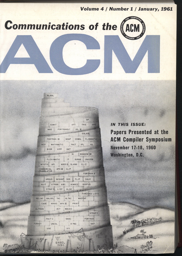 Communications of the Association for Computing Machinery (CACM) cover, 1961-01